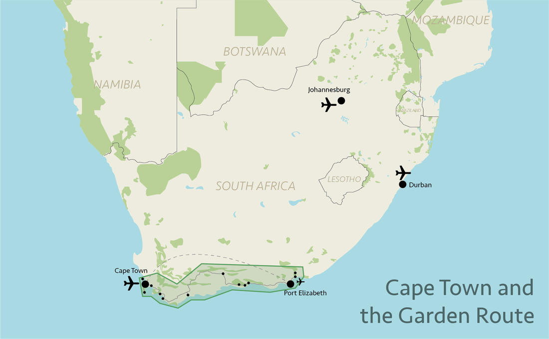 Tailor made safaris - Cape and Garden Route situation map