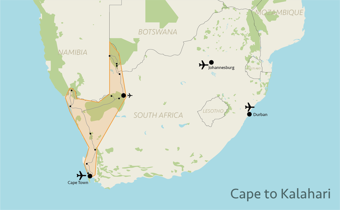 Tailor made safaris - Western South Africa situation map