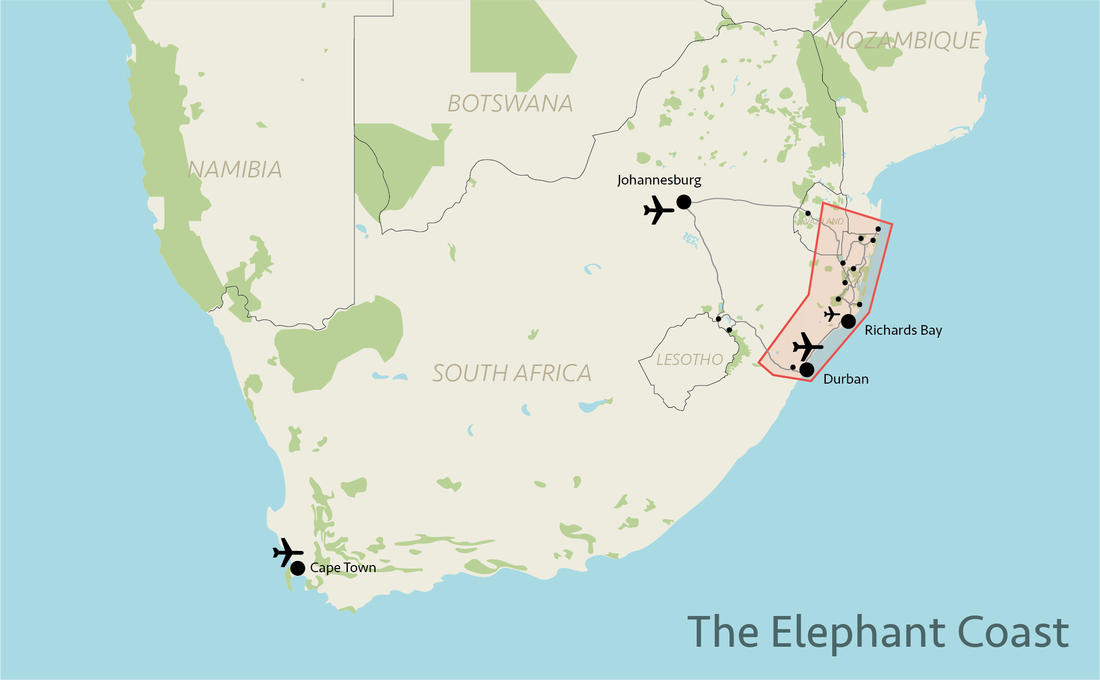 Tailor made safaris - Elephant Coast situation map