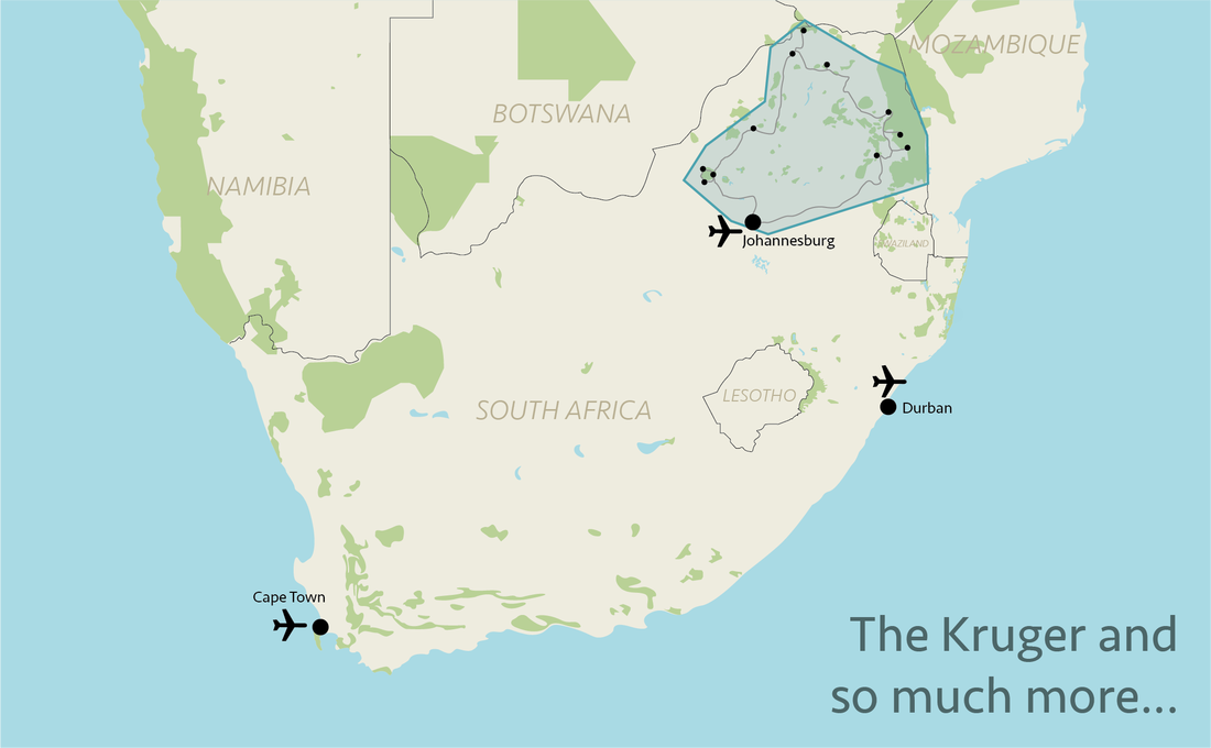 Tailor made safaris - Northern South Africa situation map